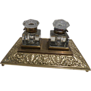 Brass and Crystal Double Inkwell