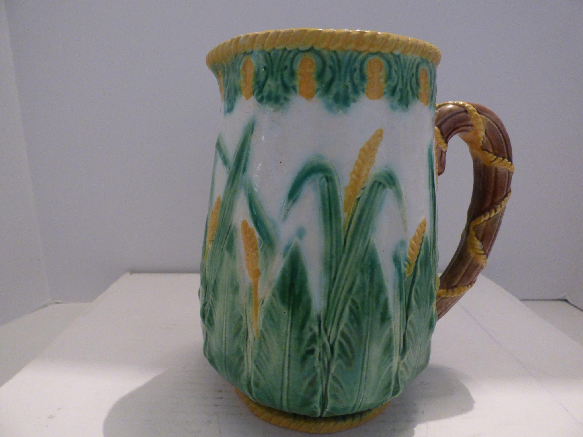george jones majolica pitcher from suzieqs on ruby lane