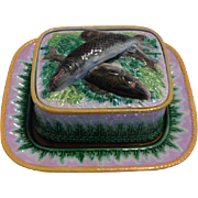George Jones Majolica Sardine Box with Tray