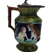 Majolica Pitcher with Pewter Top