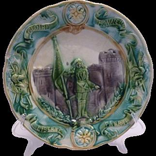 Majolica Joan of Arc Plate