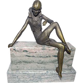 Art Deco  Style Figure on Marble