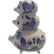 Blue Willow Piggy Bank