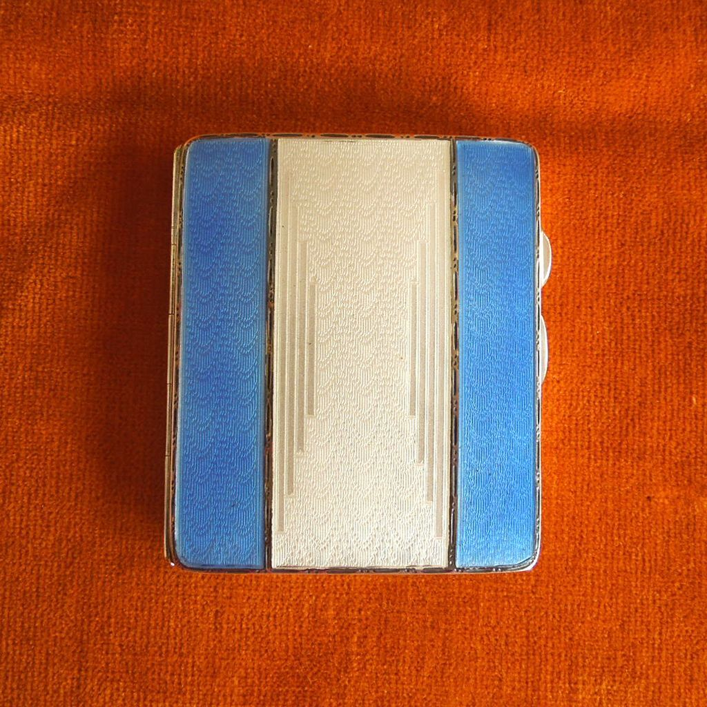 Sterling & Blue Enamel Guilloche Case