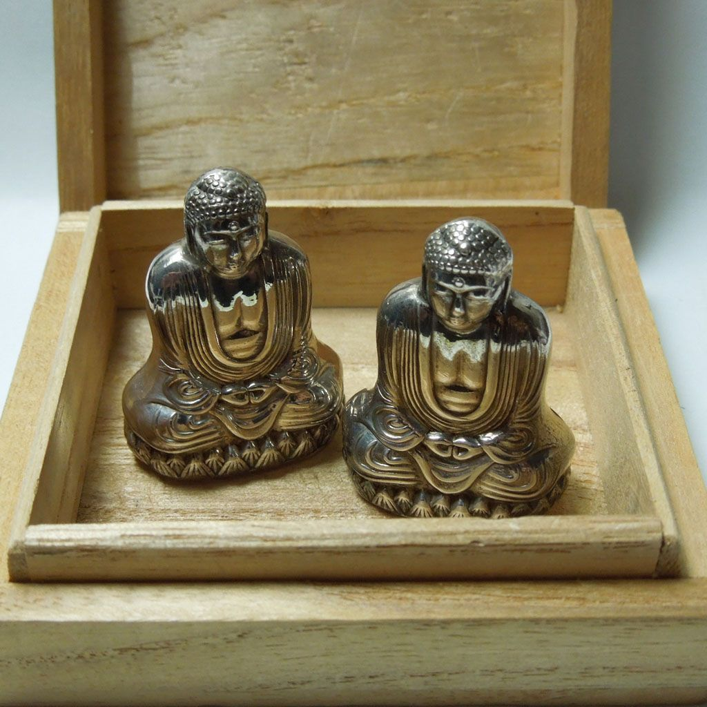 Vintage Sterling 950 Figural Buddha Salt & Pepper Set