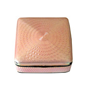Hallmarked Pink Guilloche & Sterling Trinket Box