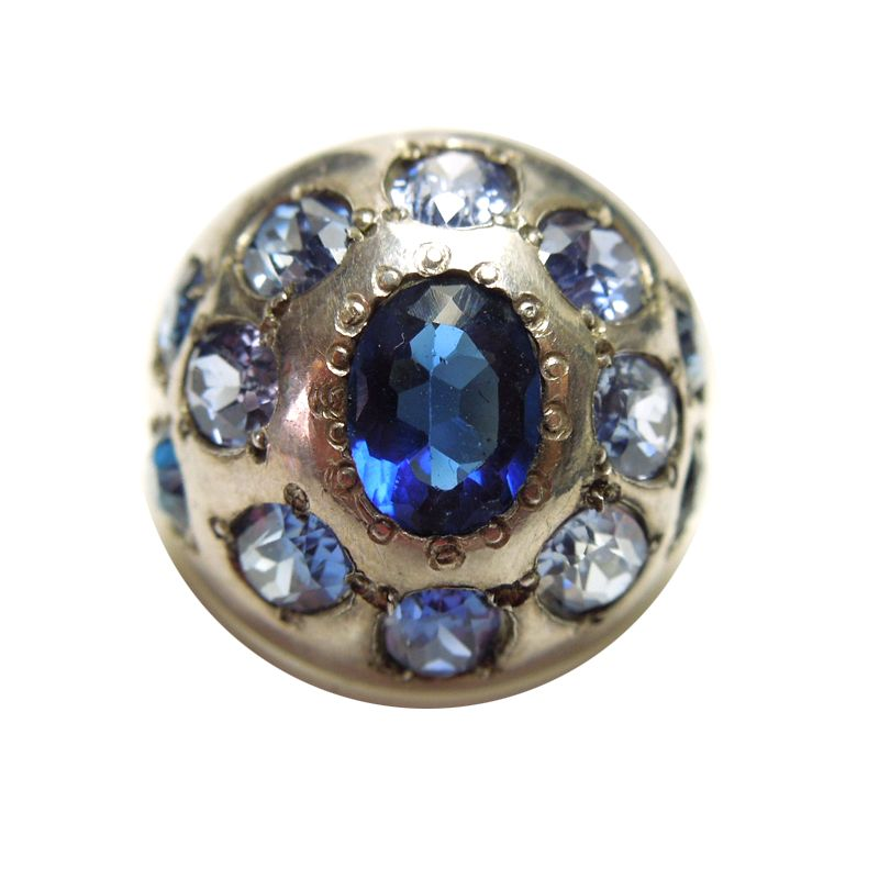 Sterling Silver Ring with Blue Rhinestones