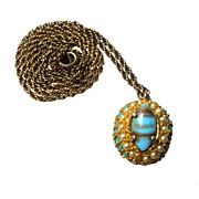 Vintage Faux-Pearl and Faux-Turquoise Pendant on Chain