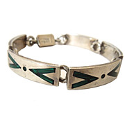 Silver Link Bracelet with Malachite