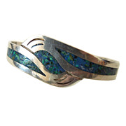 Sterling Turquoise Inlay Cuff Bracelet