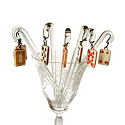 Vintage Glass Stirrers with Playing Cards Charm