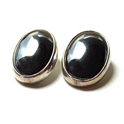 Sterling Hematite Clip Earrings