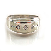 Men's 14K White Gold Diamonds Ring