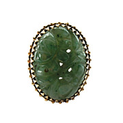 14K Gold Carved Jade Ring
