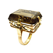 14K Gold Smoky Brown Topaz Ring