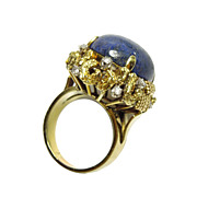 14K Gold Lapis Lazuli Diamond Cocktail Ring