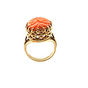 14K Gold Carved Coral Ring