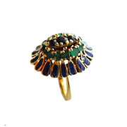 14K Gold Sapphire Emeralds Blue Enamel Ring