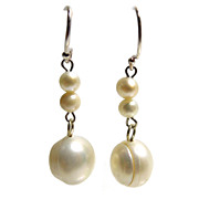 Sterling Dangling Freshwater Pearls Earrings