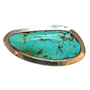 Vintage Sterling Signed Turquoise Pendant Pin