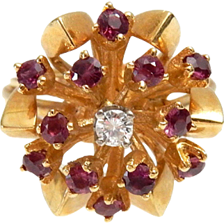 14k Gold Ruby & Diamond Ring size 5 3/4