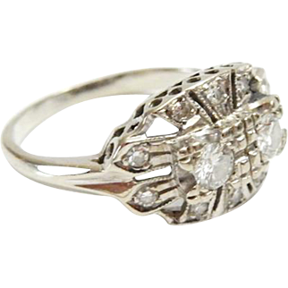 14k White Gold with Diamonds size 6 1/4