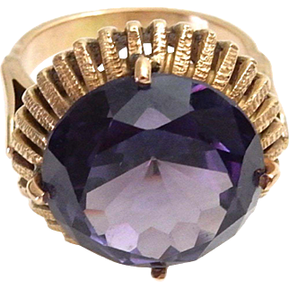 Vintage 18k Gold Ring with Round Cut Amethyst