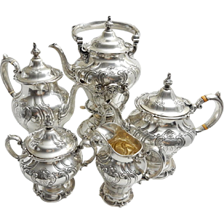 Vintage Gorham Sterling Silver Hand Chased Coffee and Tea Service
