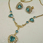 """Signed """"Vargas"""" Heart Rhinestone Necklace and Earring Set"""