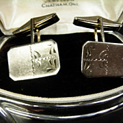 "Vintage ""Simbo"" Sterling Silver Cufflinks"