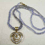 14K Tanzanite Bead Necklace with Heart-Shaped Pendant