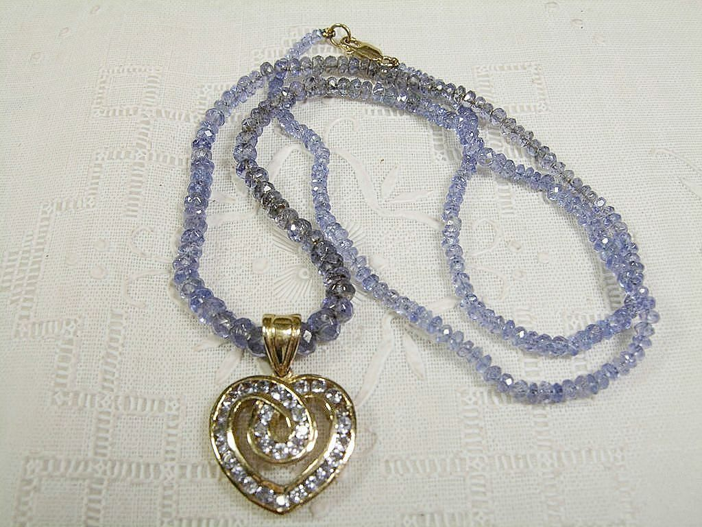 14k tanzanite bead necklace with shaped pendant from