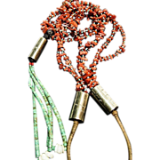 Authentic Navajo Native American Heishi Necklace with Natural Coral and Turquoise