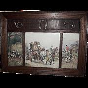 """Arts & Crafts""  Applied Oak Fox Hunting Scene Picture"