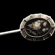 Antique Pietra Dura Silver Stick Pin