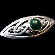 Scottish Celtic Design Brooch with Chrysoprase Stone