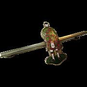 Victorian Enamel Scotsman Gilt Silver Kilt/Sash/Bar Pin