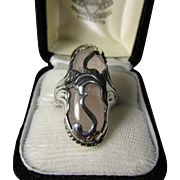 Georg Jensen Rose Quartz and Sterling Silver Ring No. 18