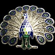 Silver Filigree and Enamel Peacock Brooch