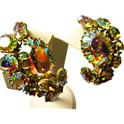 Fabulous Lg. Sherman Aurora Borealis Earrings