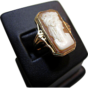 Vintage, Lg. Rectangular Cameo Ring in 10K Rose Gold