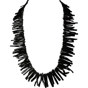 Superb Black Branch Coral Fringe Necklace