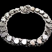Sterling Heart Link Charm Bracelet
