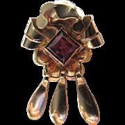 19.2K Rose Gold & Ruby Portuguese Pendant