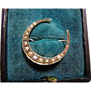 Seed Pearl and 9ct. Crescent Moon Brooch
