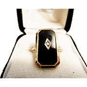 Elegant Black Onyx and Diamond 10K Ring