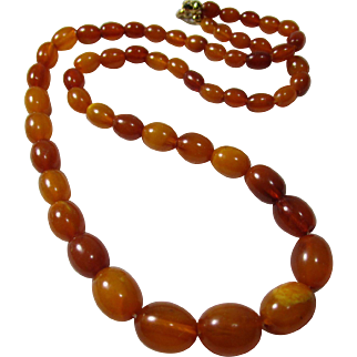 Vintage Natural Baltic Butterscotch Amber Bead Necklace