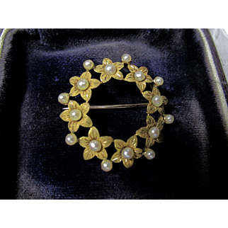 14K Flower and Natural Pearl, Flower, Circle Pin