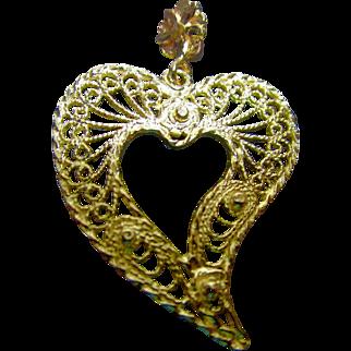 Large 10K Filigree Heart Pendant
