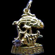 10K Pisces Zodiac Charm with Amethyst
